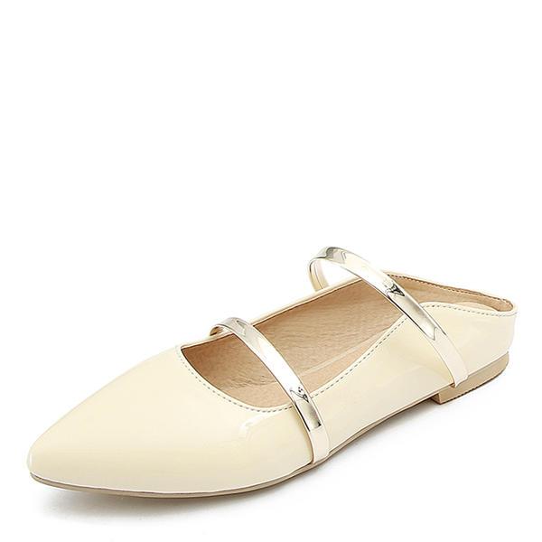 68e8afa50e40f3 Femmes Cuir verni Talon plat Sandales Chaussures plates Bout fermé  Escarpins avec Autres chaussures