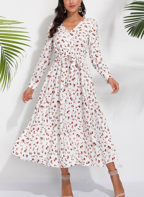Nadrukowana Długie rękawy W kształcie litery A Casual/Elegancki Midi Sukienki