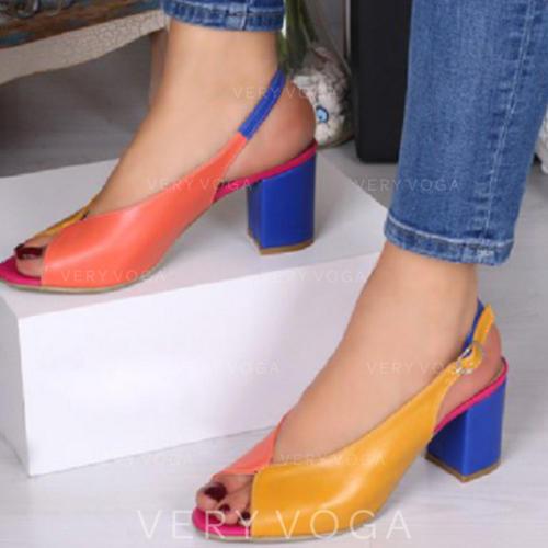 Vrouwen PU Low Heel Pumps Peep Toe met Gesp schoenen