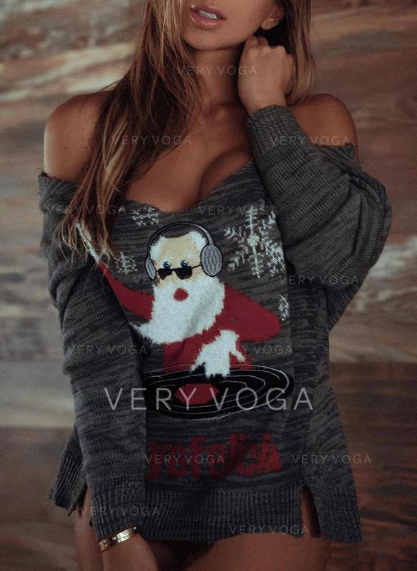 Femmes Polyester Père Noël Chandail de Noël moche