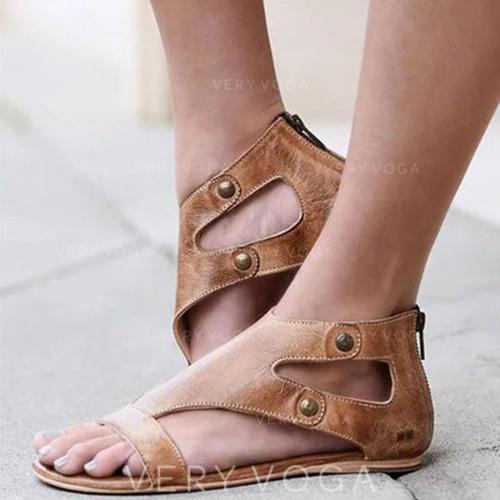 Women's PU Flat Heel Sandals Peep Toe With Rivet Buckle shoes