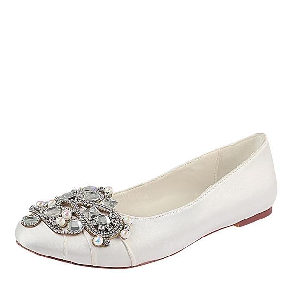 Women's Silk Like Satin Flat Heel Closed Toe Flats With Ruffles Crystal