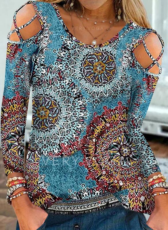 Imprimeu Soğuk omuz Mâneci Lungi Tişörtler