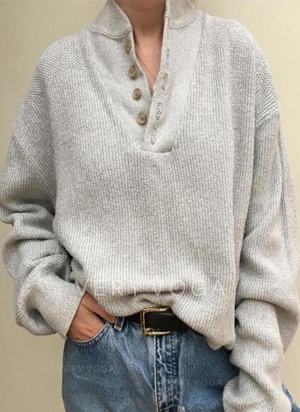Sólido Acanalado Cuello en V Suéteres