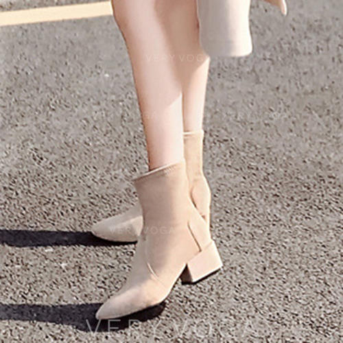 Women's Suede Low Heel Pumps Boots With Others shoes