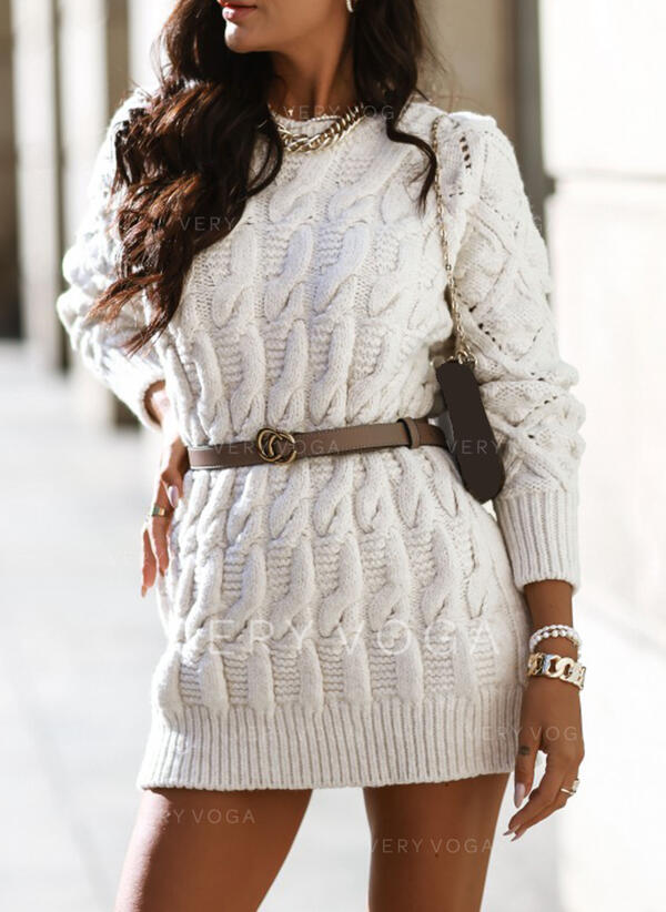 Jednobarevné Copánkový vzor Kulatý výtřih Neformální Dlouhé Svetrové šaty