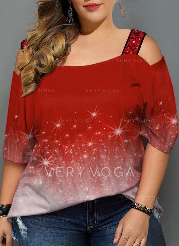 Impresión Top Con Hombros Mangas 3/4 Casual camiseta