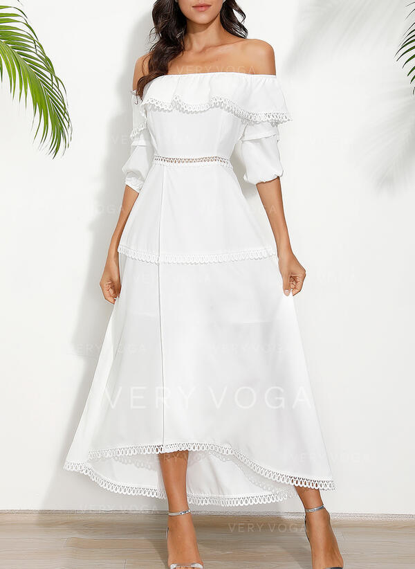 Solid 1/2 Sleeves A-line Casual/Vacation Midi Dresses