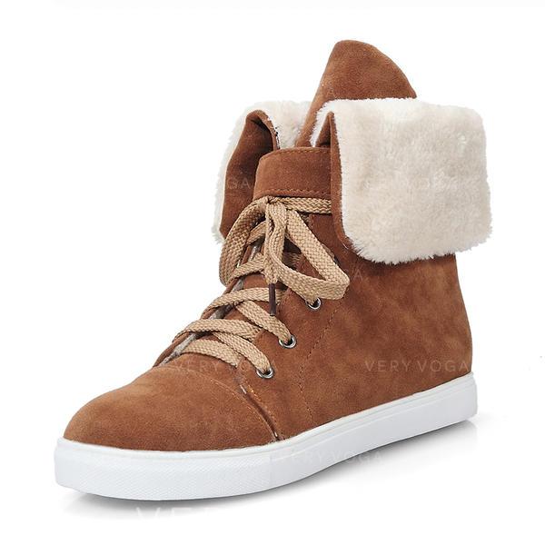 Naisten Mokkanahka Matalakorkoiset Heel Suljettu toe Kengät Mid-calf saappaat Lumi saappaat Martin saappaat jossa Nauhakenkä kengät