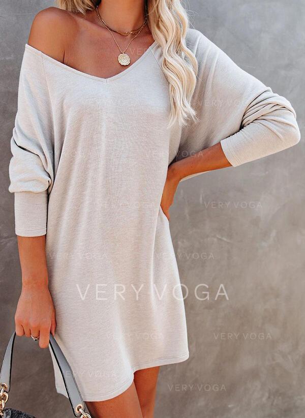 固体 長袖 シフトドレス 膝上 カジュアル チュニック ドレス