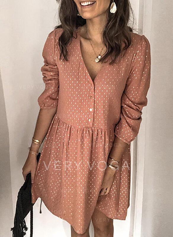 PolkaDot Long Sleeves/Puff Sleeves Shift Knee Length Casual Dresses