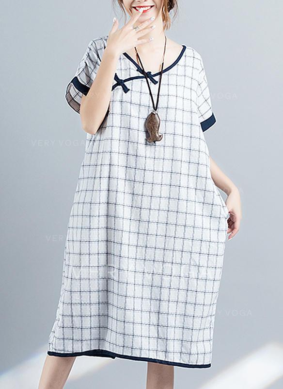 1a5bca16a5 W kratę Krótkie rękawy Koktajlowa Midi Casual Sukienki (199257921 ...