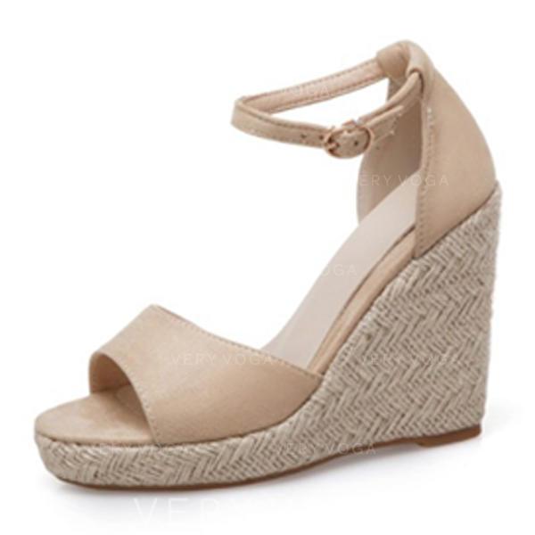 Vrouwen Suede Wedge Heel Sandalen Peep Toe met Gesp schoenen