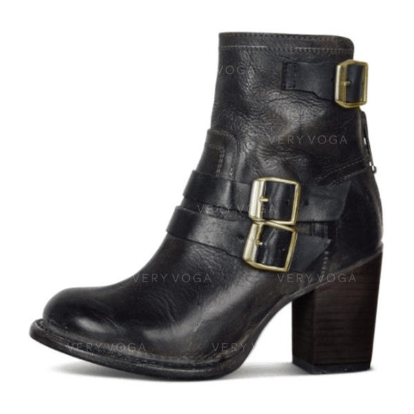 Women's PU Chunky Heel Pumps Closed Toe Boots With Buckle Zipper shoes (088275243)