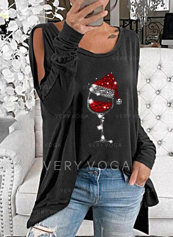 Paillettes Spalle esposte Maniche lunghe Natale Camicie