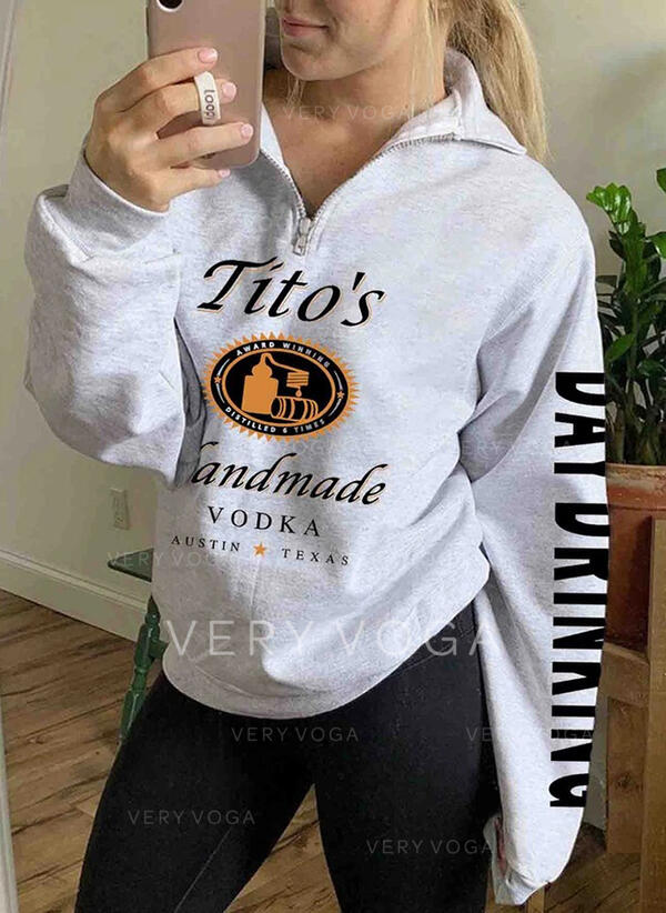 Print Halloween Lapel Long Sleeves Sweatshirt