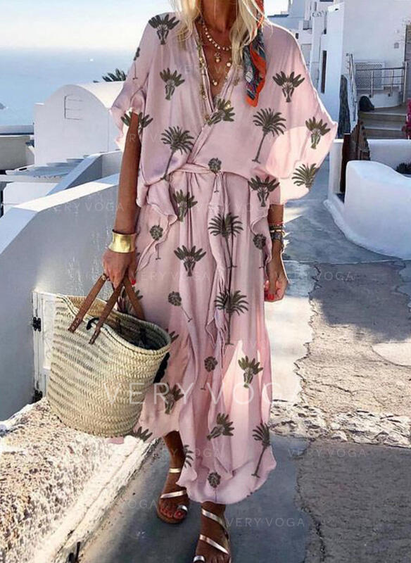 Print 1/2 Sleeves A-line Wrap/Skater Casual/Vacation Maxi Dresses