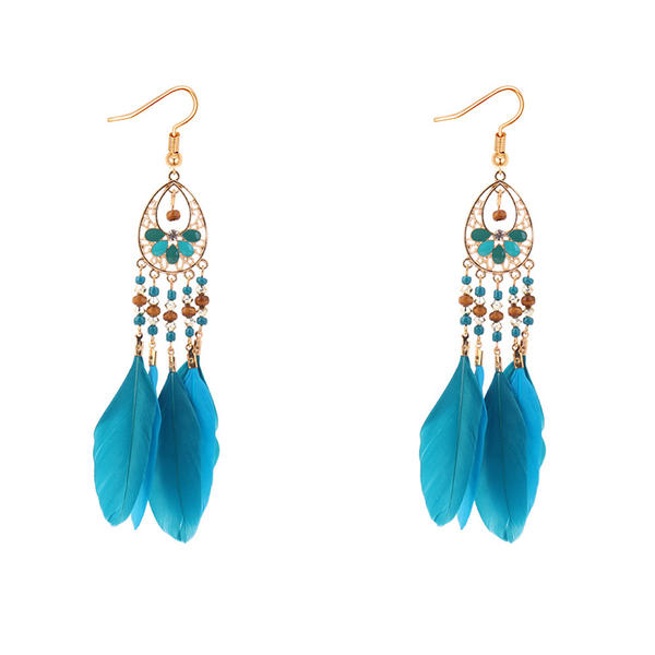 Shining Alloy Feather Fashion Earrings