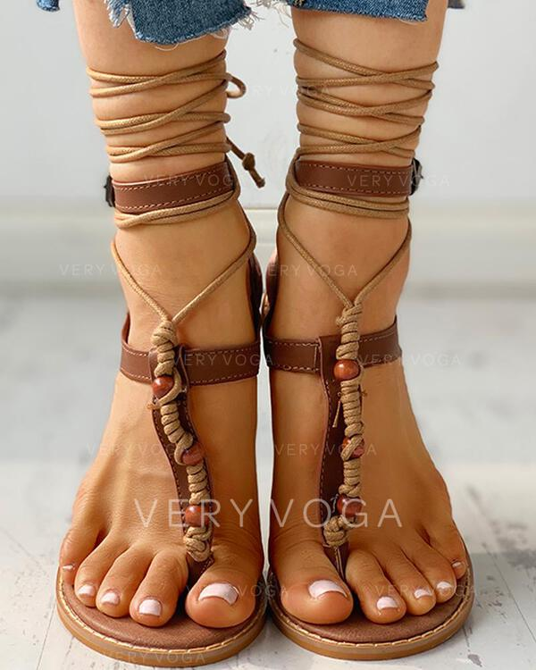Vrouwen PU Flat Heel Sandalen Peep Toe met Vastrijgen schoenen