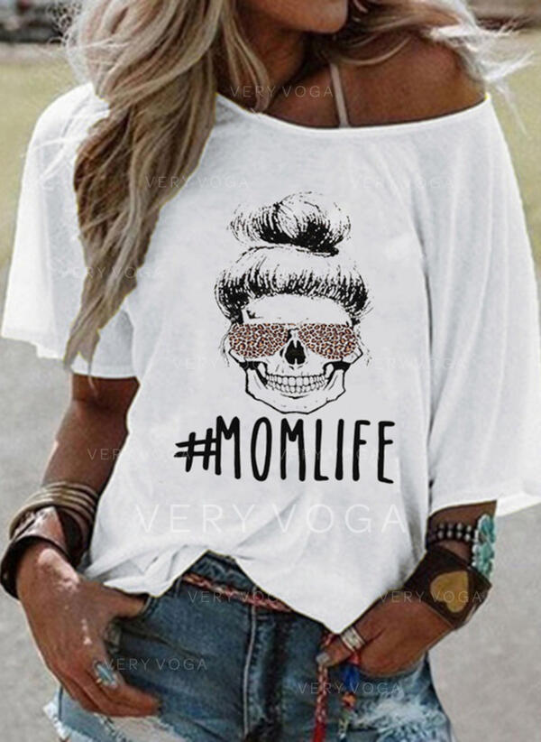 Estampado Um Ombro Manga 3/4 Casual Camisetas