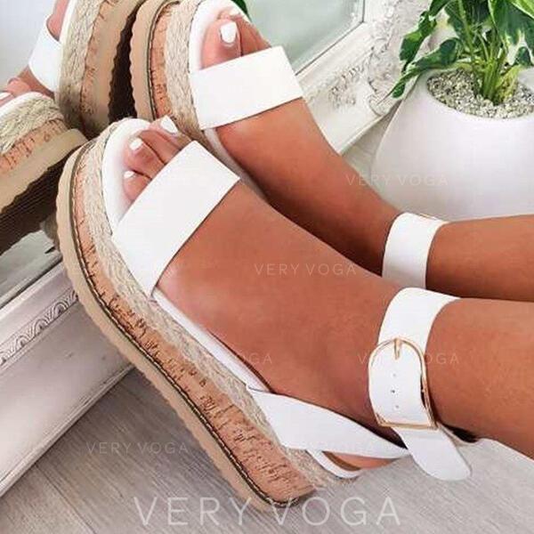 De mujer PU Tipo de tacón Sandalias Plataforma Cuñas Encaje con Hebilla Agujereado zapatos