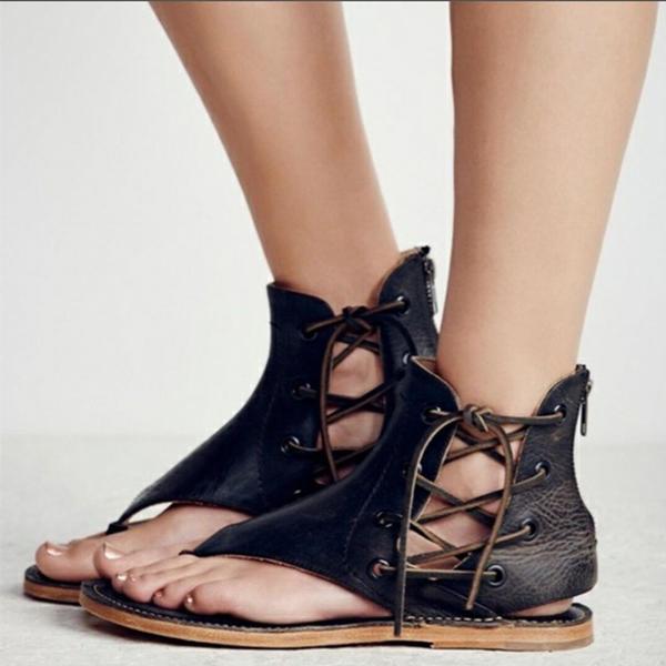 Kvinner PVC Flat Hæl Sandaler Flate sko Titte Tå med Glidelås Blondér sko