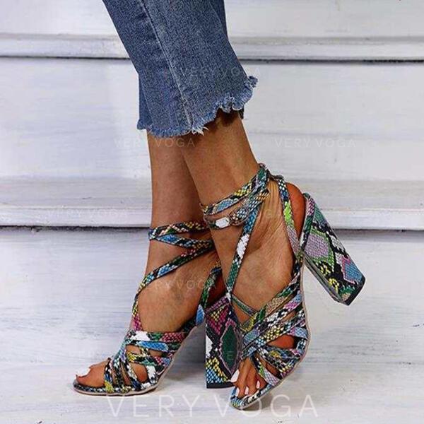 De mujer PU Tacón ancho Sandalias Encaje con Hebilla zapatos