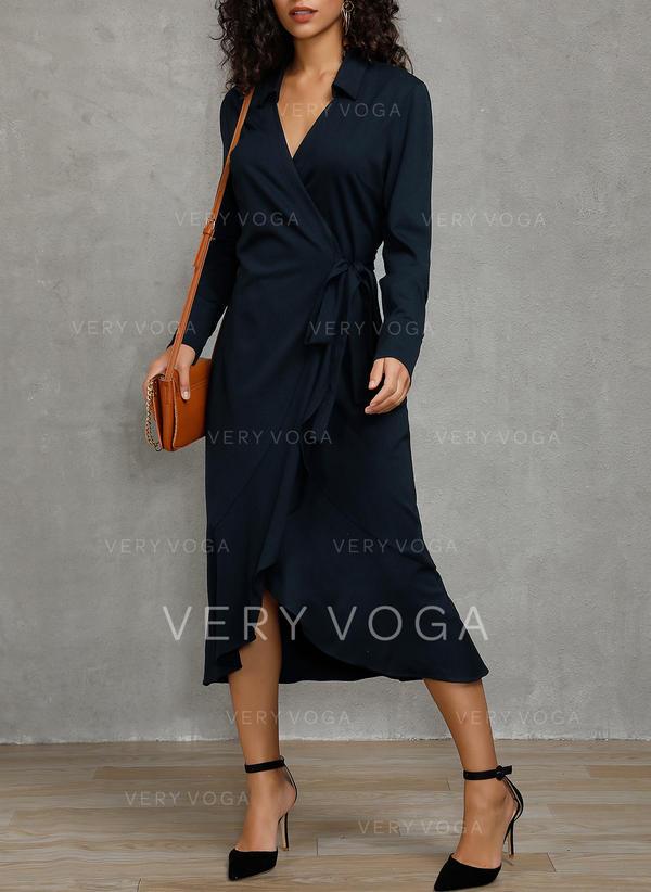 Solid Long Sleeves Sheath Midi Party/Elegant Dresses