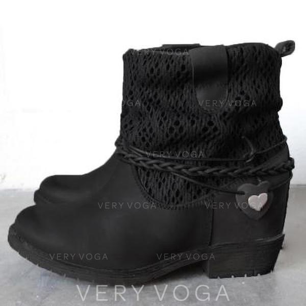 De mujer Cuero Tacón bajo Salón Botas con Correa Trenzada zapatos