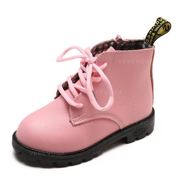 b54ebc430c462 Fille de bout rond Bout fermé Bottines similicuir talon plat Chaussures  plates Bottes Chaussures de fille
