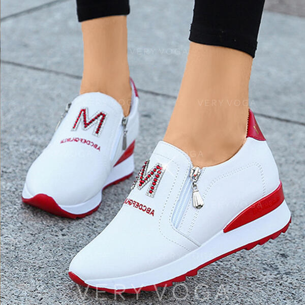 De mujer PU Casual al aire libre Atlético con Cremallera Carta zapatos