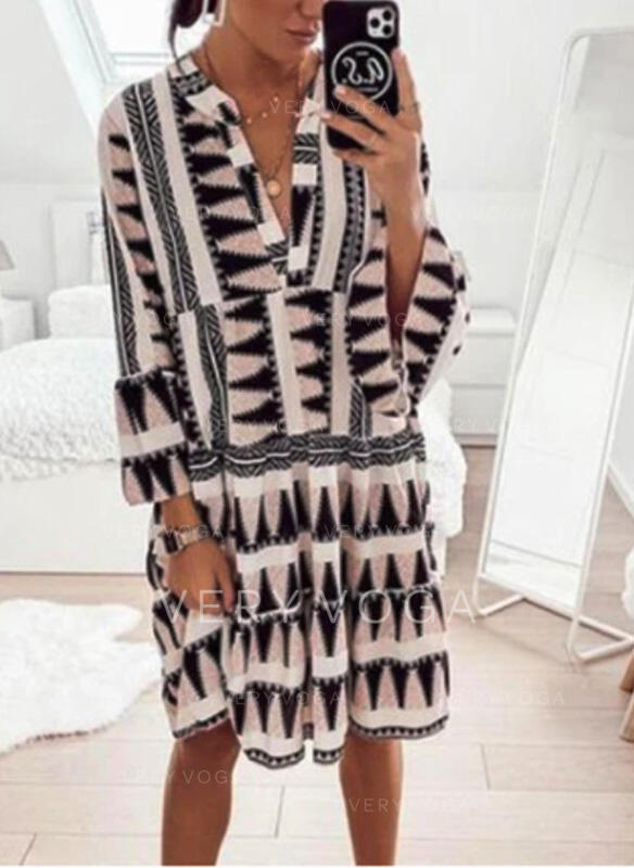 Geometric Print Long Sleeves Shift Knee Length Casual/Vacation Dresses