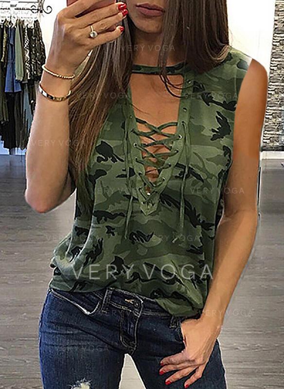 Print V-Neck Sleeveless Casual T-shirts