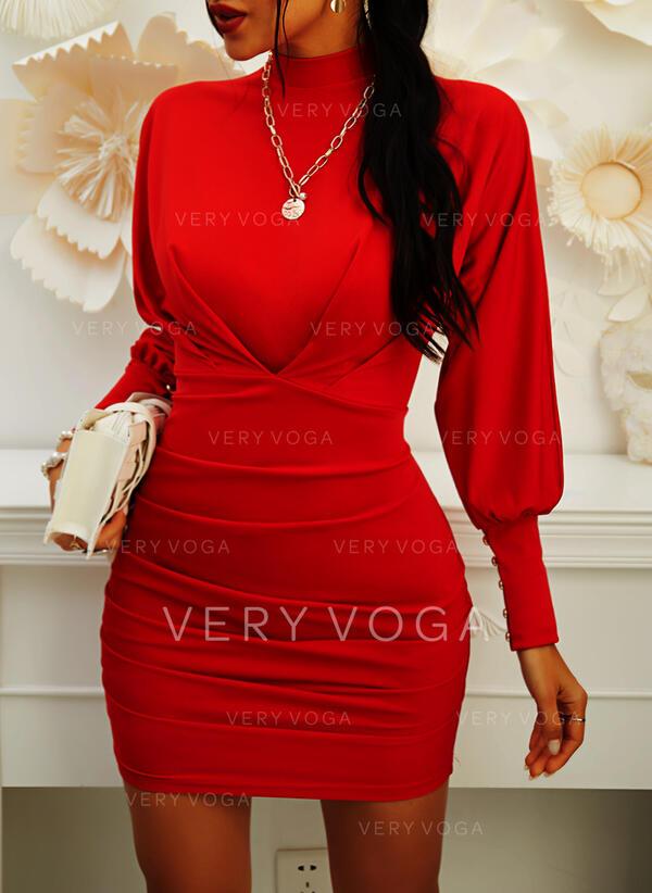 Solid Long Sleeves/Lantern Sleeve Bodycon Above Knee Little Black/Elegant Dresses