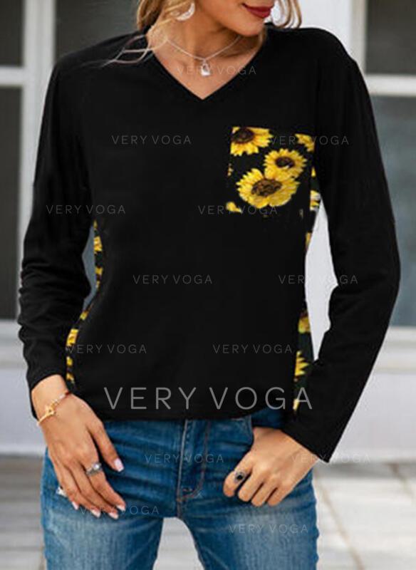 Nadruk słonecznika Dekolt w kształcie litery V Długie rękawy T-shirty