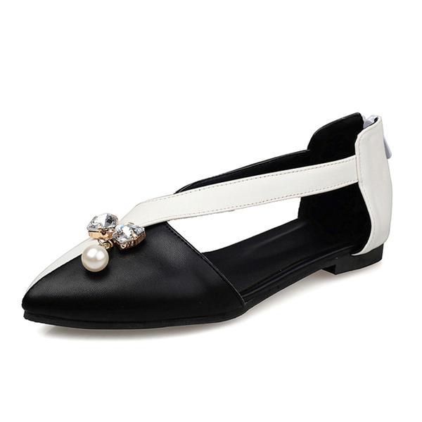 8fffa92345a52e Women s Leatherette Flat Heel Flats Closed Toe With Rhinestone Imitation  Pearl shoes