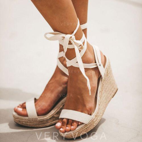 Pentru Femei PU Platforme Înalte Sandale Puţin decupat în faţă cu Lace-up pantofi