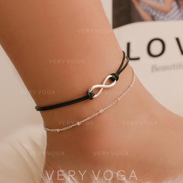 Infini Le plus chaud Alliage Corde en cuir Bracelets de cheville (Lot de 2)