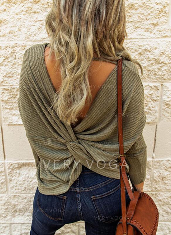 Solide V-hals Lange Mouwen Casual Breiwerk Overhemd
