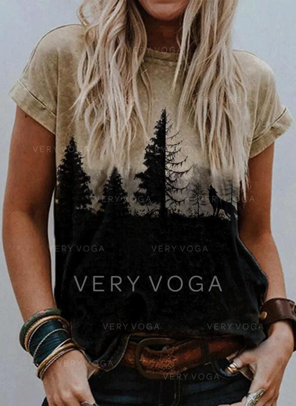 Print Rund hals Korte ærmer Casual T-shirts