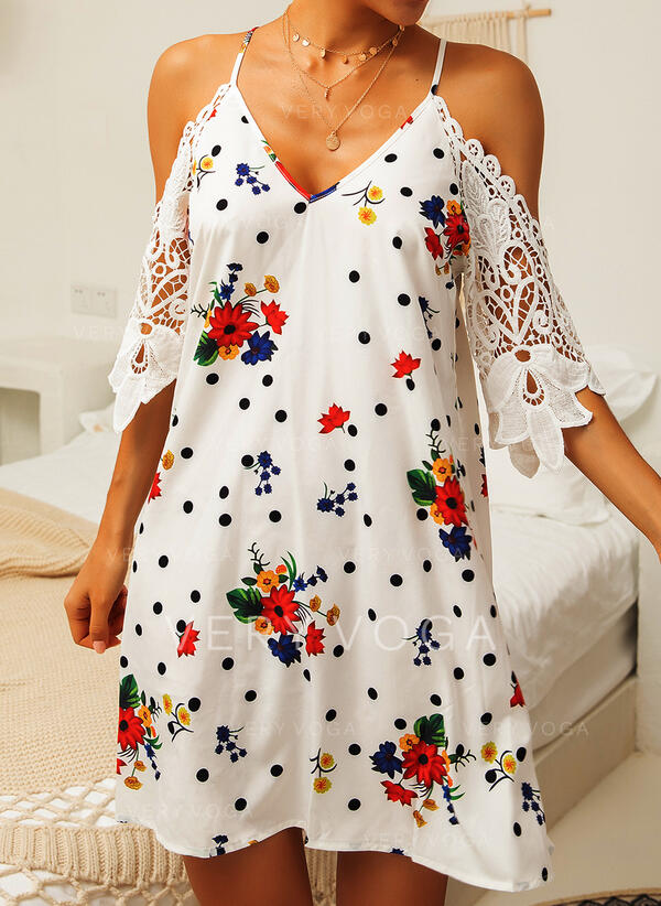 Lace/Print/Floral/PolkaDot 1/2 Sleeves Shift Above Knee Casual Dresses