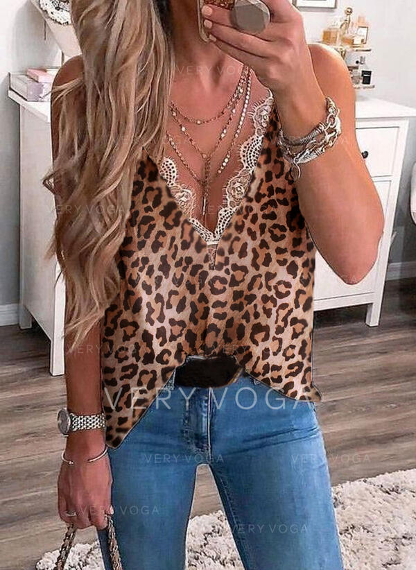 Print Lace Leopard V-Neck Sleeveless Casual Tank Tops
