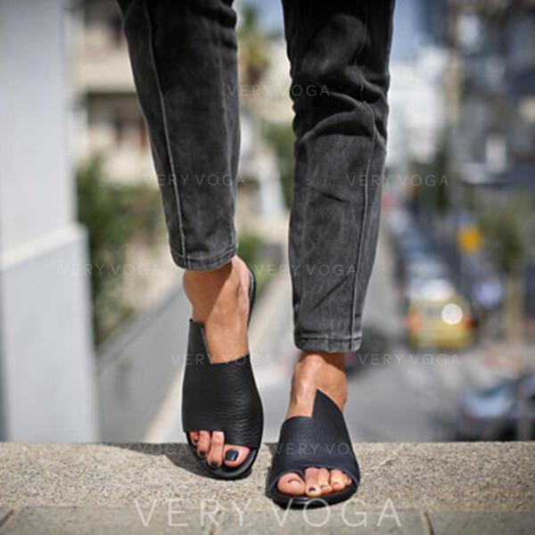 Mulheres PU Sem salto Sandálias Peep toe Chinelos com Oca-out sapatos