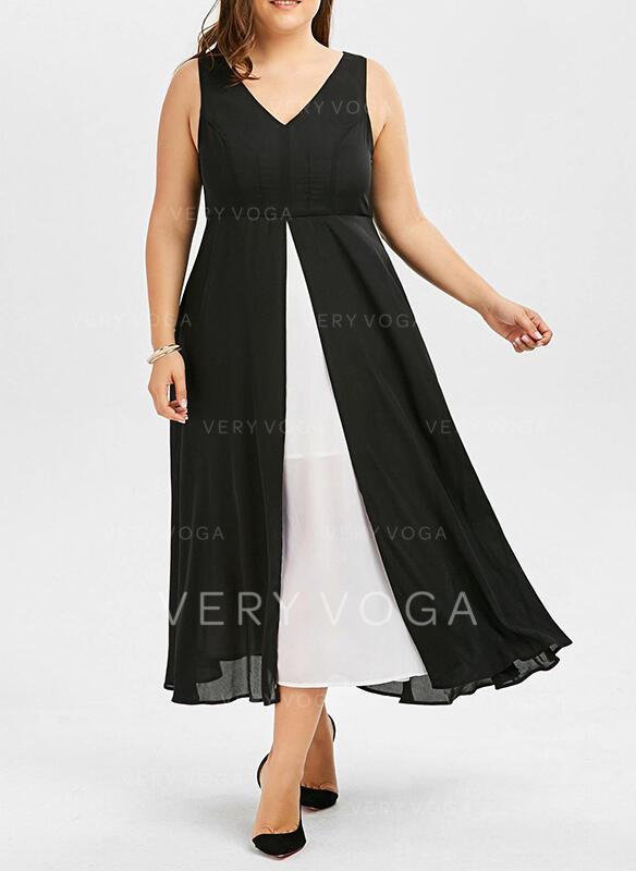 Color Block Sleeveless A-line Vacation/Plus Size Midi Dresses