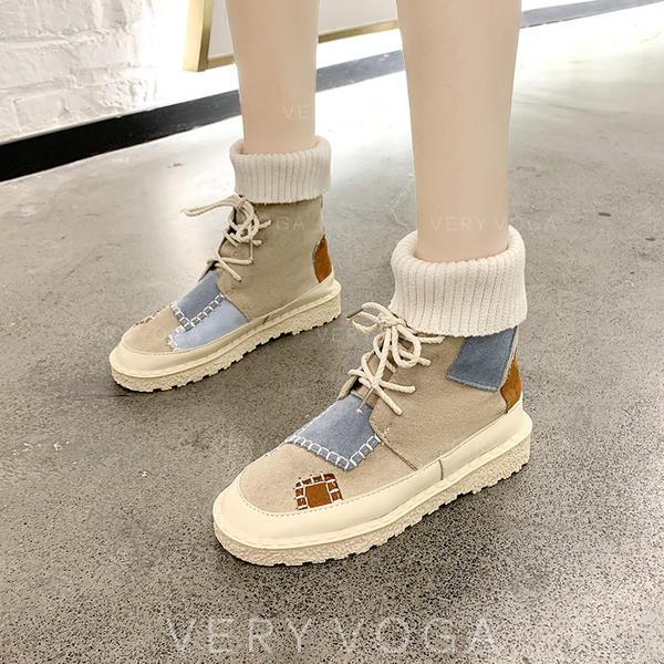 Frauen Stoff Niederiger Absatz Stiefel mit Zweiteiliger Stoff Schuhe