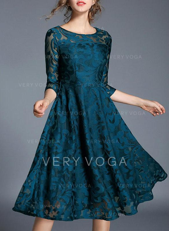 Lace/Solid 3/4 Sleeves A-line Knee Length Vintage/Party/Elegant Dresses