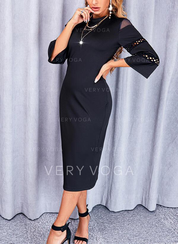 Sólido Mangas 3/4 Cubierta Pequeños Negros/Elegante Midi Vestidos
