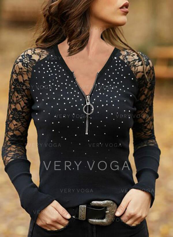 Spitze Perlen V-Ausschnitt Lange Ärmel Freizeit Blusen
