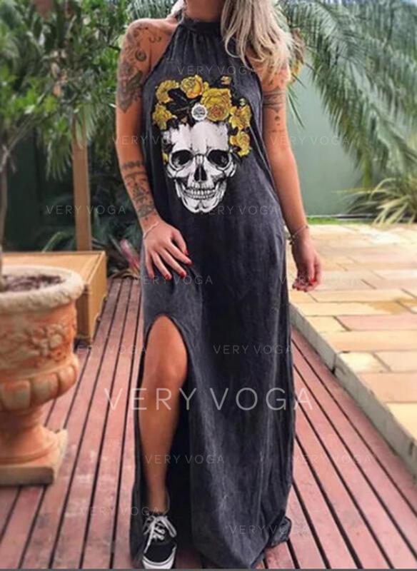 Nadrukowana Bez rękawów Koktajlowa Casual Maxi Sukienki