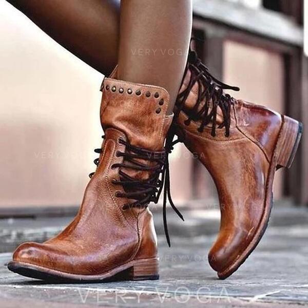 Frauen Kunstleder Niederiger Absatz Stiefel mit Niete Zuschnüren Schuhe